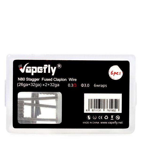6x Vapefly Prebuild Ni80 Stagger Fused Clapton Coil 0.3 Ohm