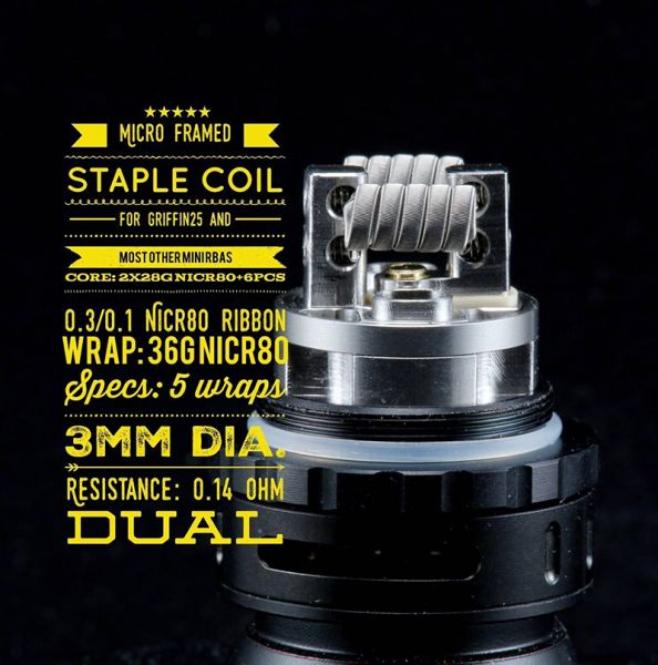 2x Tasty Ohm Coils Micro Framed Staple Dual Coil 0,14 Ohm