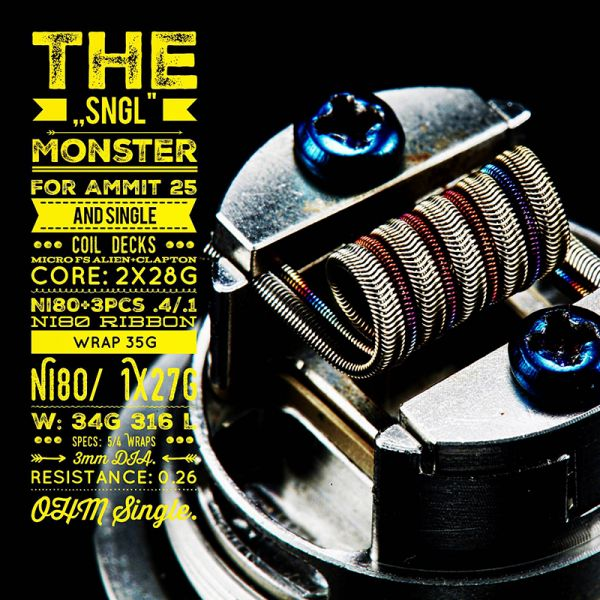 2x Tasty Ohm Coils The SNGL Monster Single Coil 0,26 Ohm