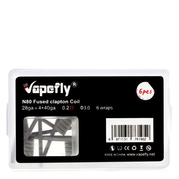 6x Vapefly Prebuild Ni80 Fused Clapton Coil 0.2 Ohm